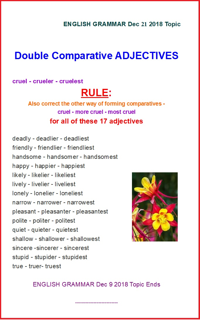 English Adjectives: Double Comparative Forms