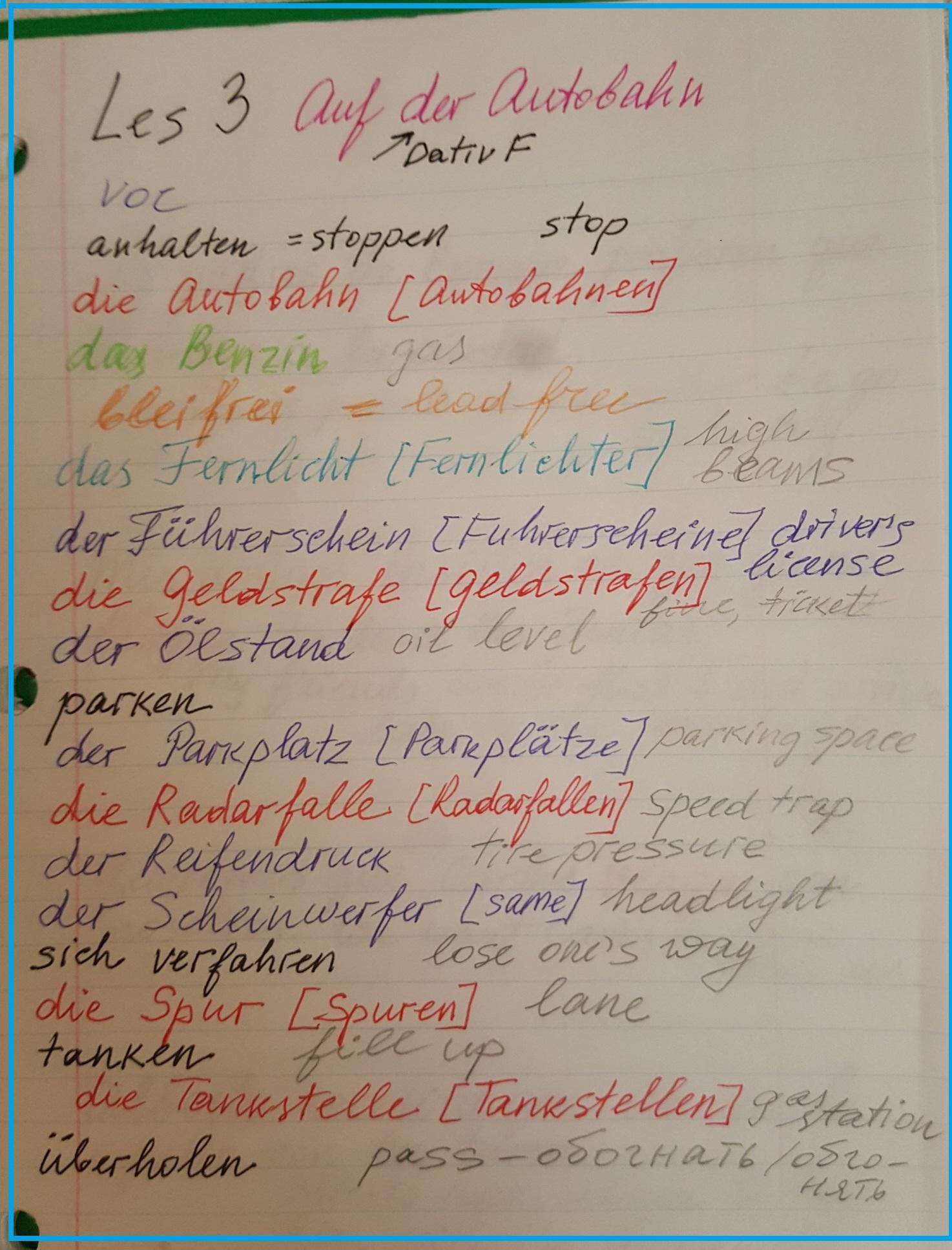 Auf der Autobahn: topic vocabulary Ger-Eng